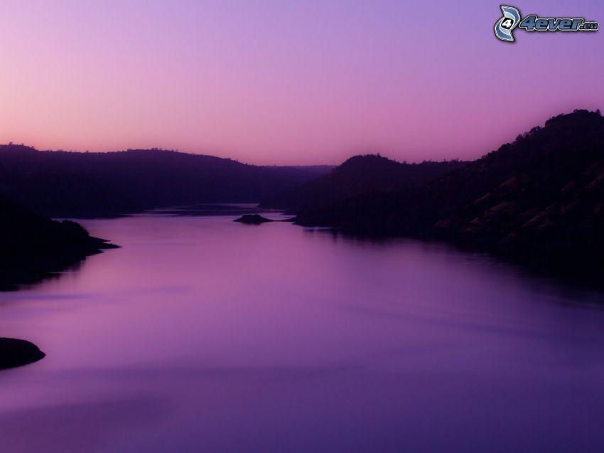 flod, kväll, lila himmel