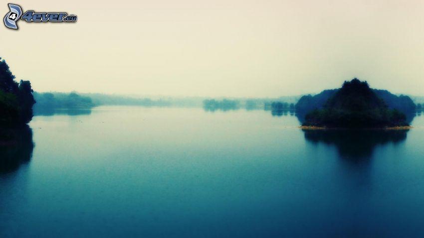 flod, ö, dimma