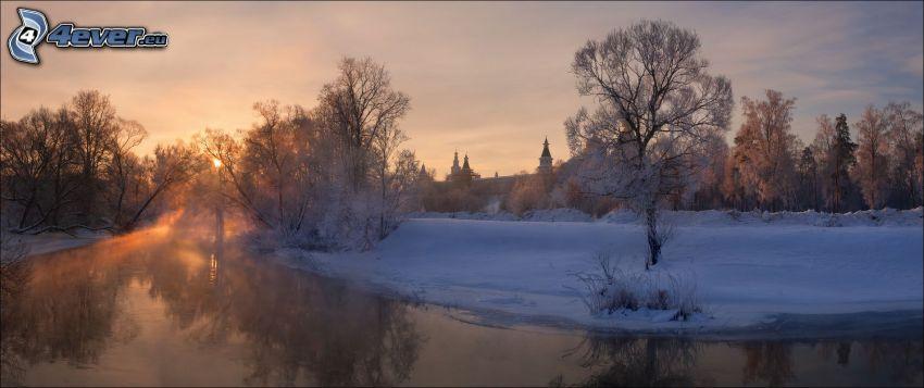 flod, snö, soluppgång