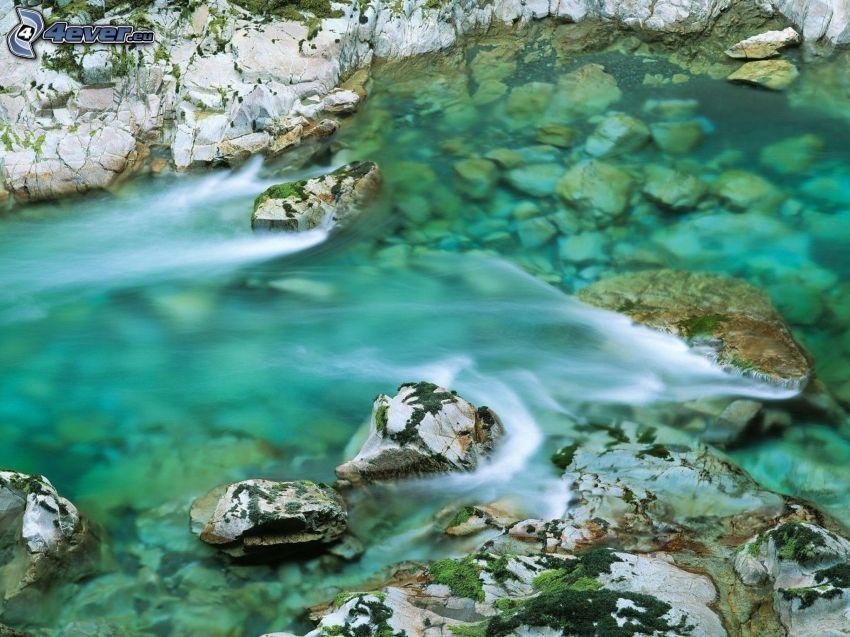 flodstenar, bäck, vatten