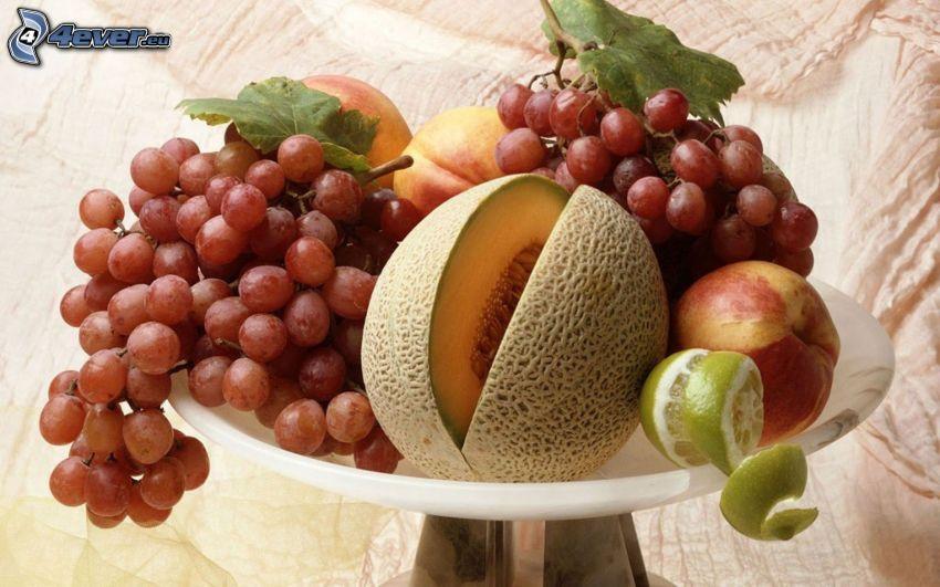 frukt, gul melon, vindruvor, nektariner, citron