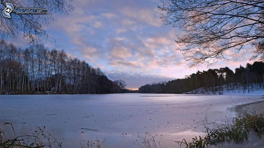 frusen sjö, snö