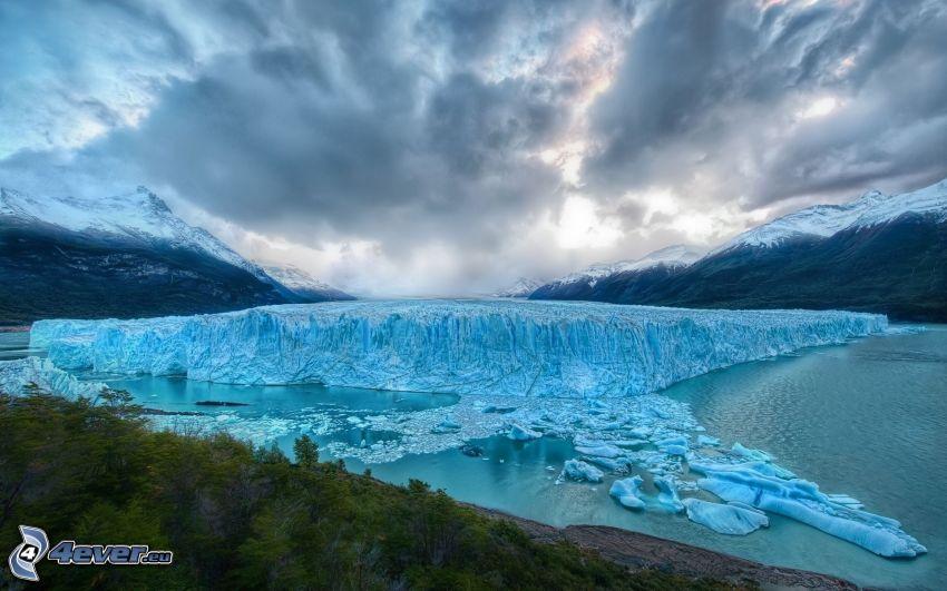 glaciär, himmel, moln, HDR