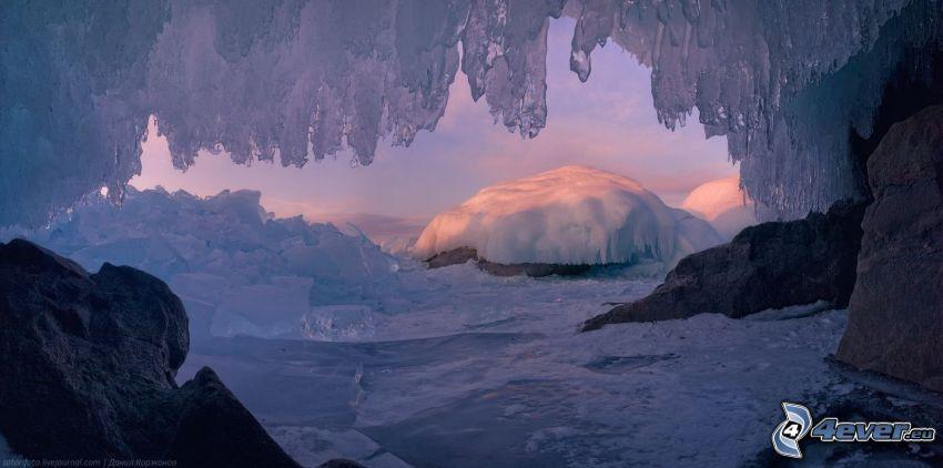 grotta, is, snö