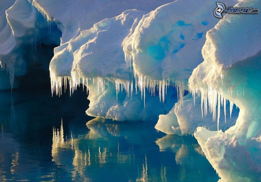 grotta, istappar, snö, vatten