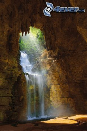 grotta, vattenfall, solstrålar