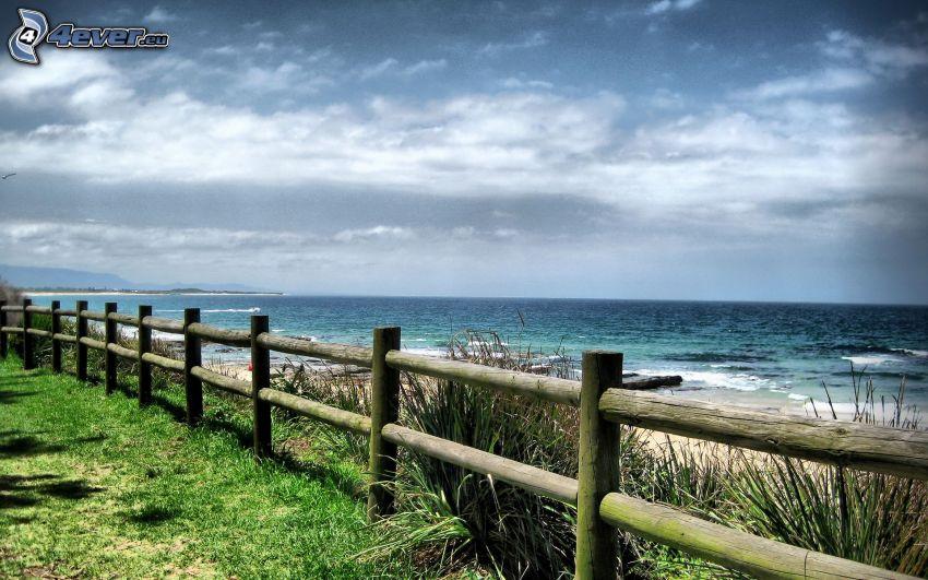 hav, trästaket, himmel