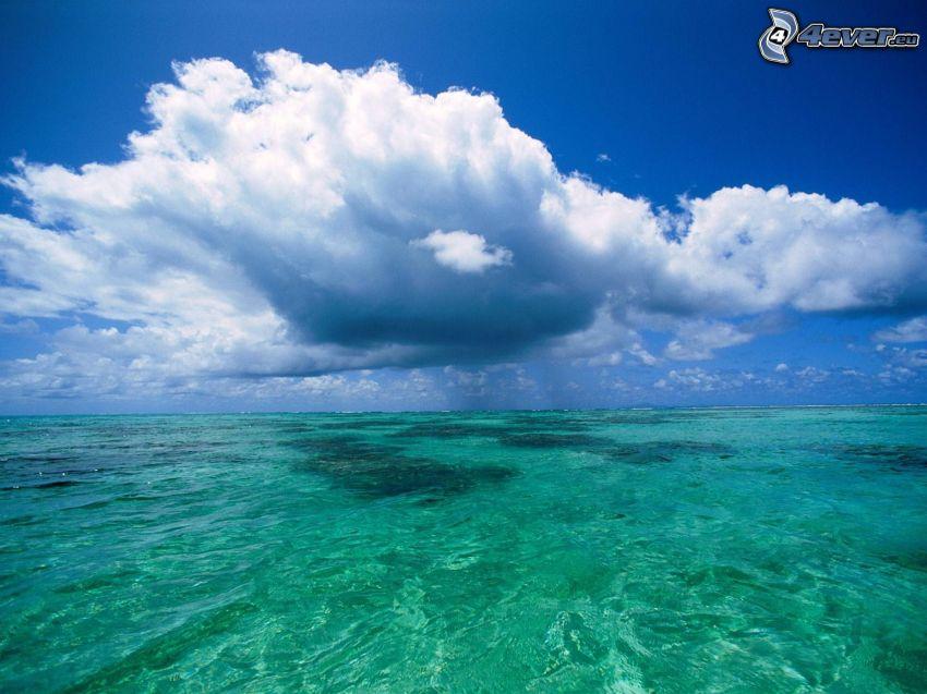azurblå hav, moln