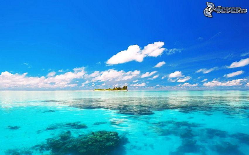 azurblå hav, ö, moln, blå himmel