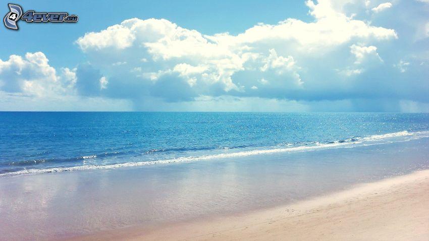 azurblå hav, sandstrand