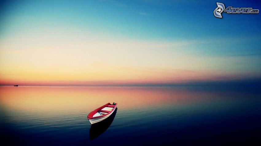 båt, efter solnedgången, hav