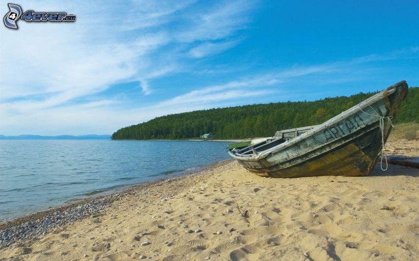 båt, sandstrand, hav