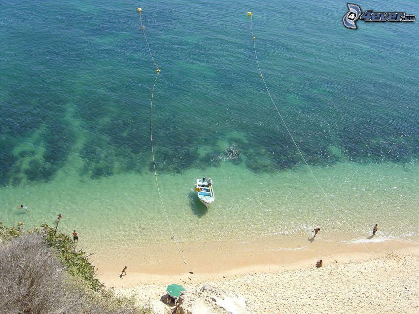 båt på havet, strand, hav