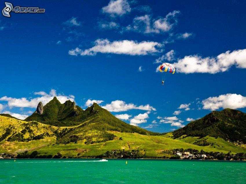 berg, fallskärmshopp, hav