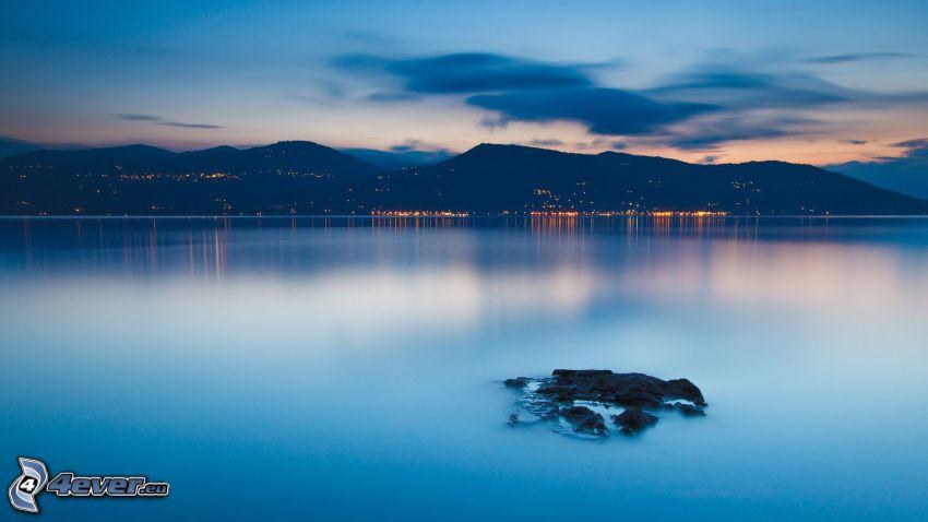 bergskedja, hav, kvällshav
