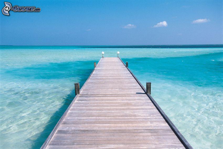 brygga, azurblå hav