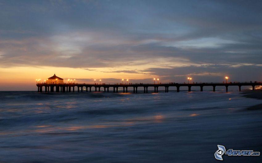 brygga, hav, kvällshimmel