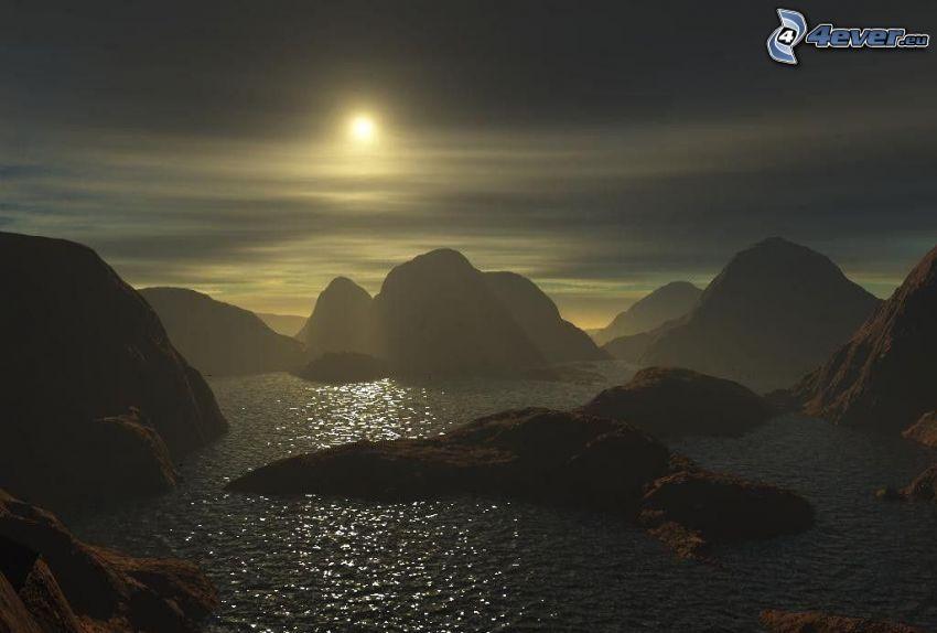 digitalt vattenlandskap, klippor i havet, solnedgång