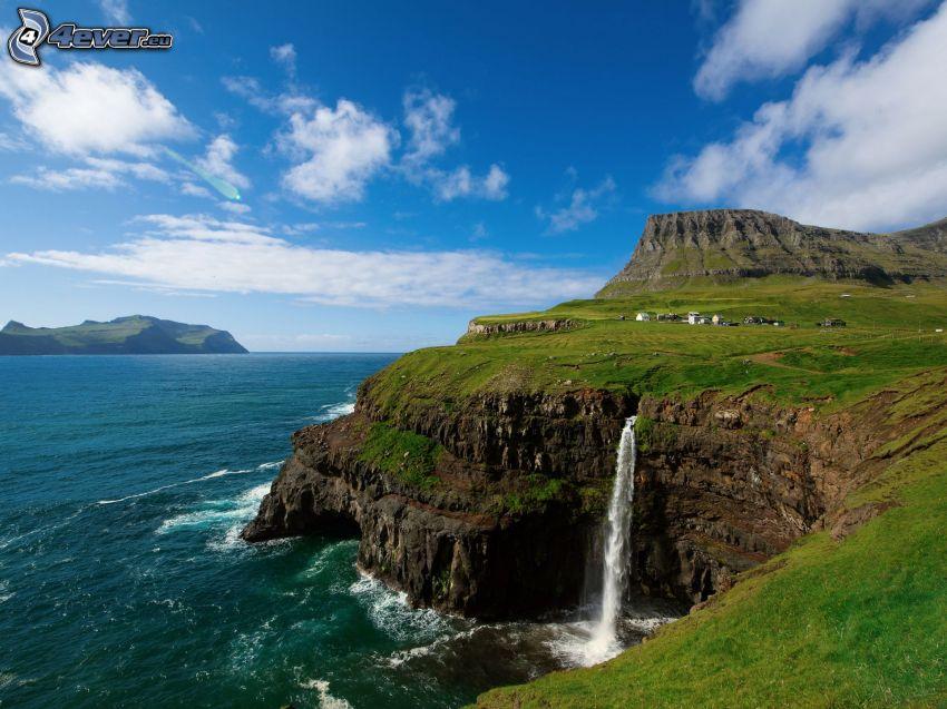 Färöarna, hav, klippa, vattenfall, grönt gräs