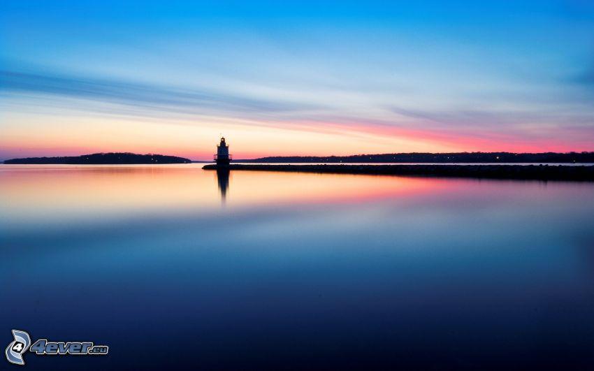 fyr, hav, efter solnedgången