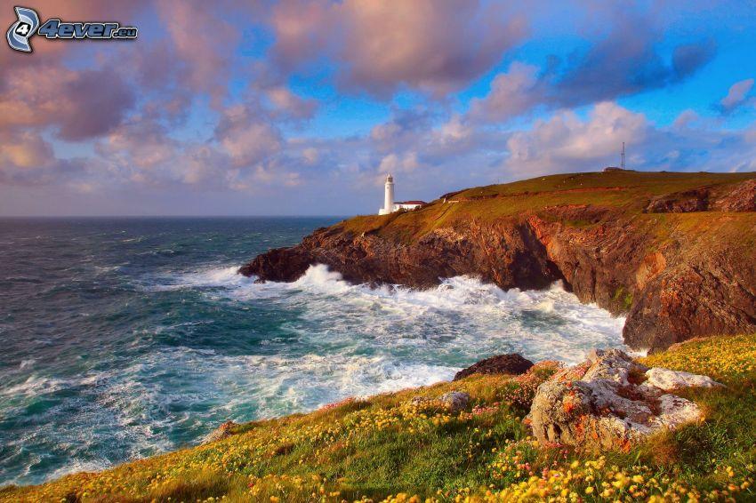 fyr på klippa, hav, klippor vid kusten