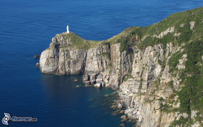 fyr på klippa, klippstrand, hav