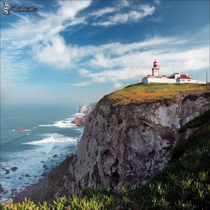 fyr på klippa, Portugal, klippor vid kusten