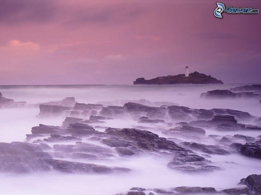 fyr på ö, fyr i dimma, lila himmel, hav