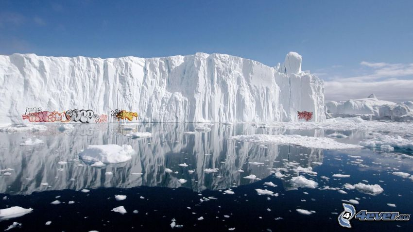 glaciär, hav, graffiti