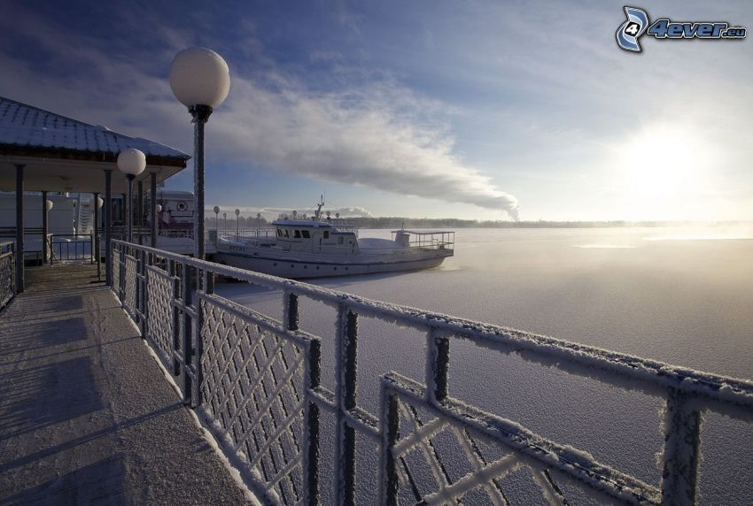 hamn, båt, hav, frost, snötäckt staket