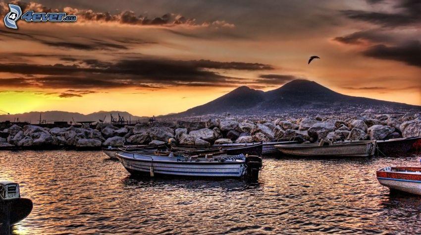 hamn, båt, kväll