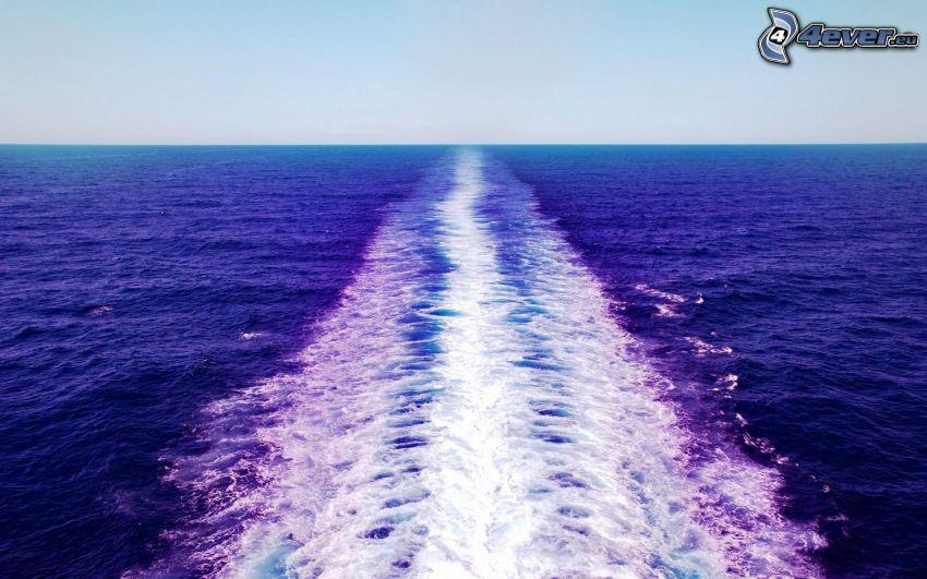 hav, bakom fartyget