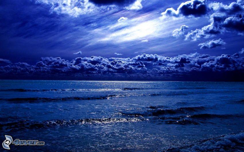 hav, blå himmel, moln
