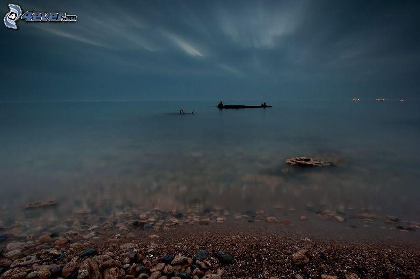 hav, flotte, kväll, klippig kusten