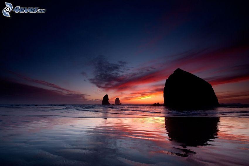 hav, klippor, strand, kvällshimmel