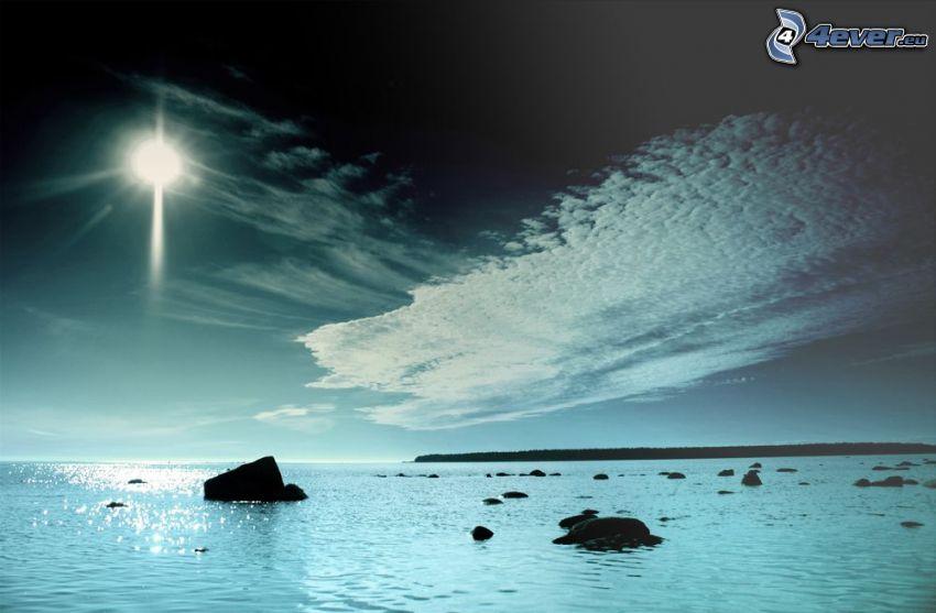 hav, klippor i havet, sol