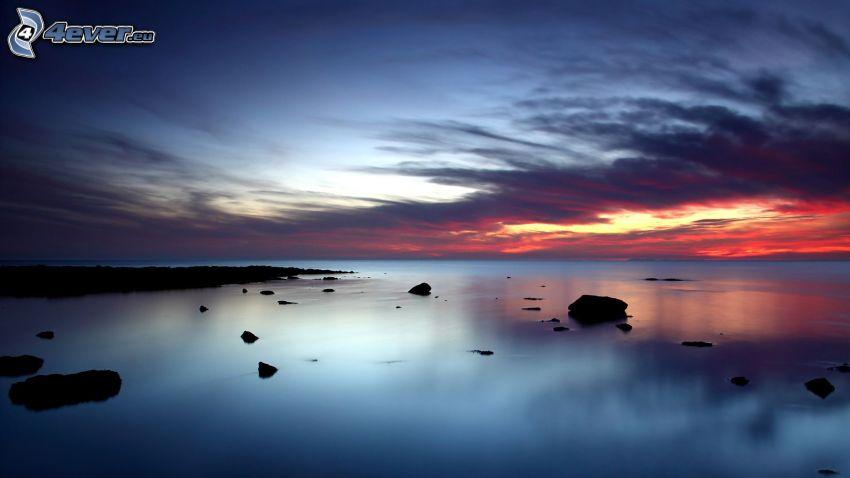 hav, kvällshimmel