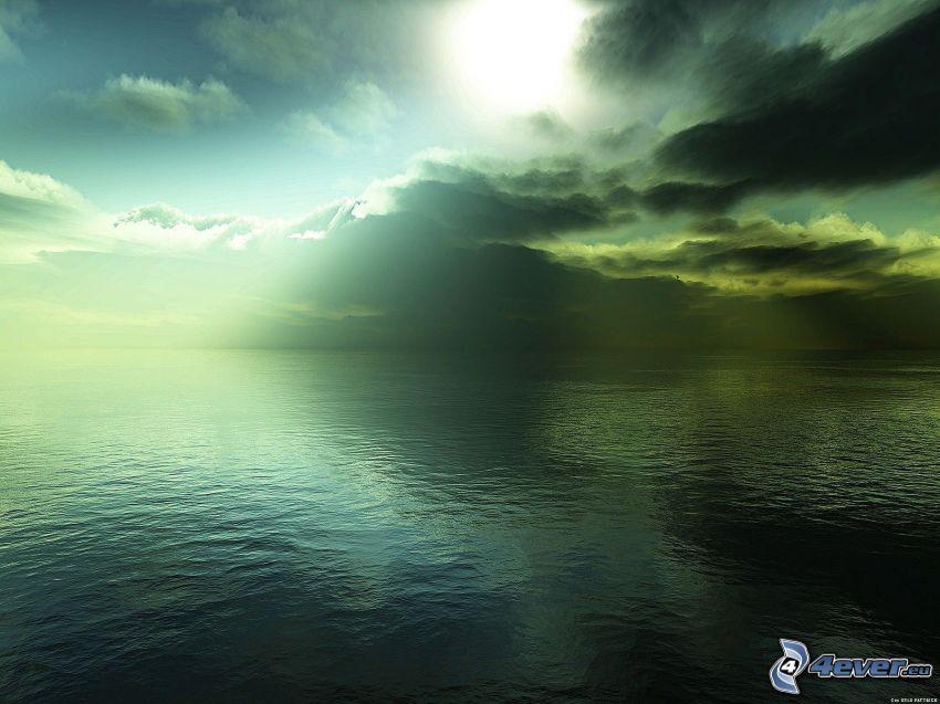 hav, moln, solstrålar