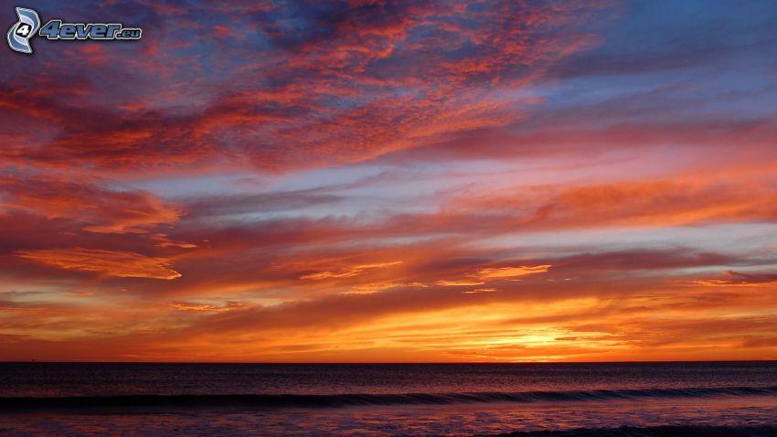 hav, orange himmel, efter solnedgången