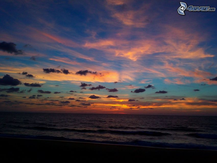 hav, orange himmel