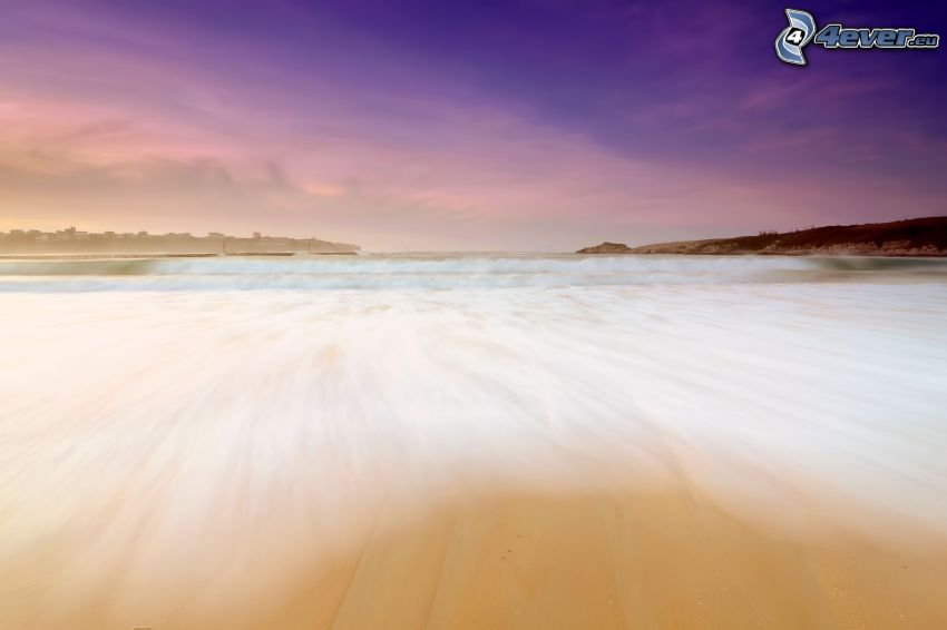 hav, sandstrand, lila himmel