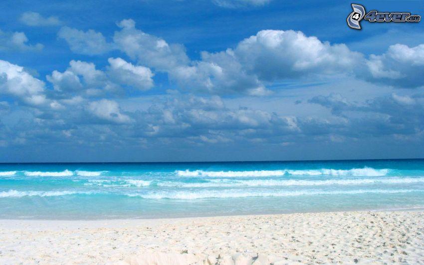 hav, sandstrand, moln
