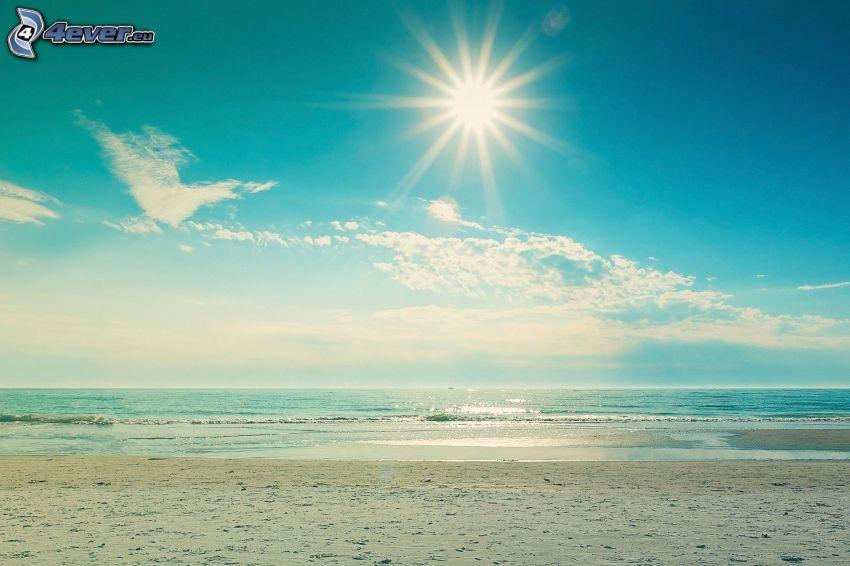 hav, sandstrand, sol