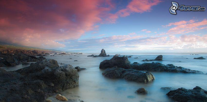 hav, stenar, himmel