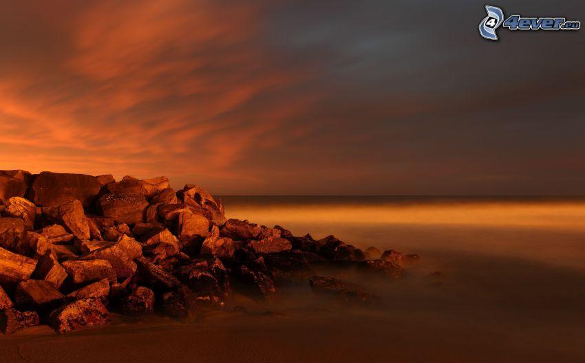 hav, stenig kust, himmel