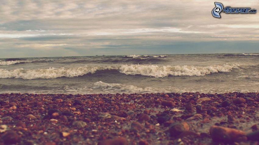 hav, stenig strand, moln