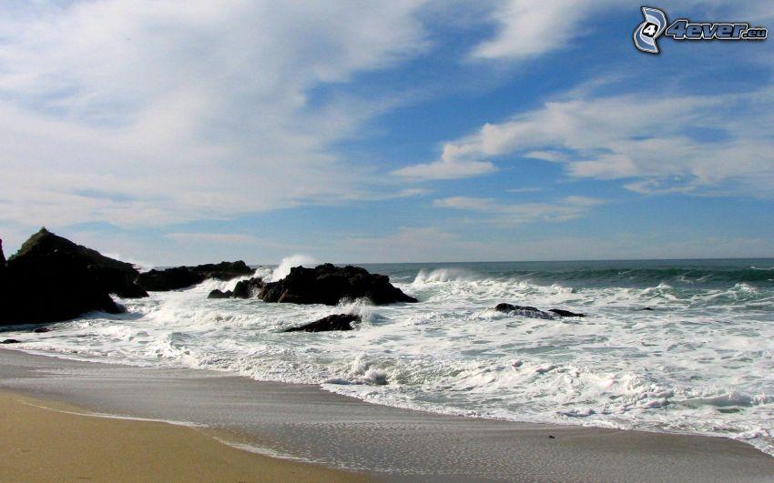 hav, strand, klippor