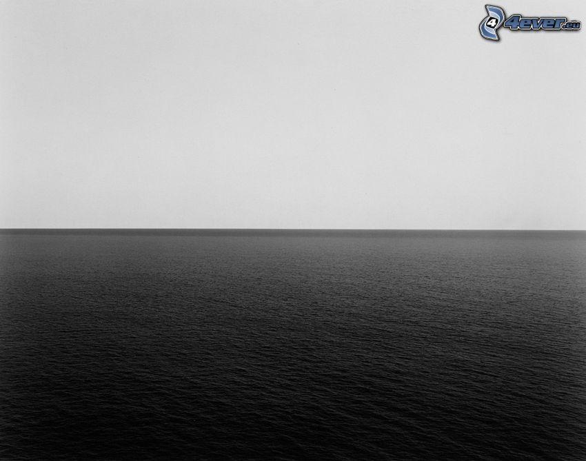 hav, svart och vitt