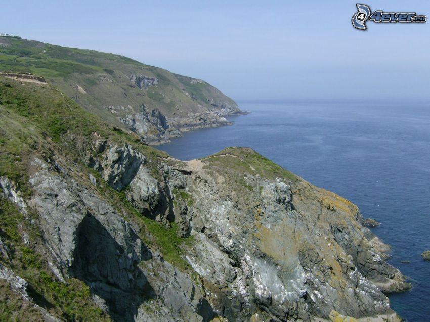 Howth, Dublin, Irland, klippor vid kusten, havsutsikt