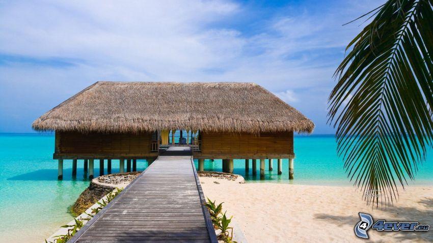 hus på vatten, strand, azurblå hav